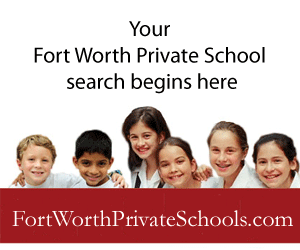 Ad for Fort Worth Private Schools website with smiling kids and text.